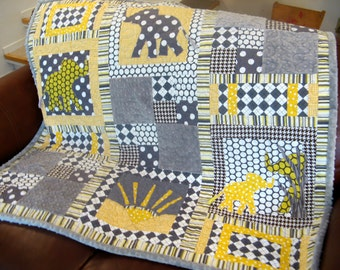 Baby Quilt Boy - Elephants Gray Yellow Baby Quilt - Personalized Baby Boy Quilt Applique Elephants