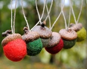 Wool Felted Acorn Ornaments - Set of 12 in Woodland Christmas Colors