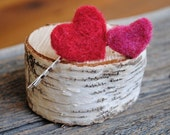 ETSY FRONT PAGE...Heart Felted Hair Pins...Set of 2