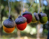 A BEST SELLER Wool Felted Acorn Ornaments - Set of 5 in Autumn Tones