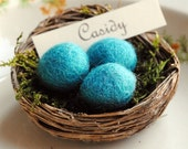 Birds Nest Placecard Holder with Felted Eggs Bright Blue