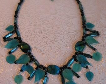 Sea glass leaf necklace