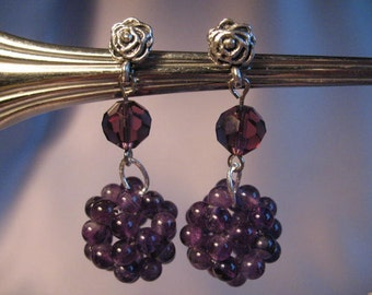 Plum quartz earrings