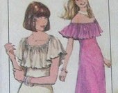 Vintage Sewing Pattern from 1978 Simplicity No. 8419 Pullover Dress Pattern with Ruffle