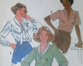 Vintage Sewing Pattern from 1978 Simplicity No. 8698 Misses Blouse and Tie