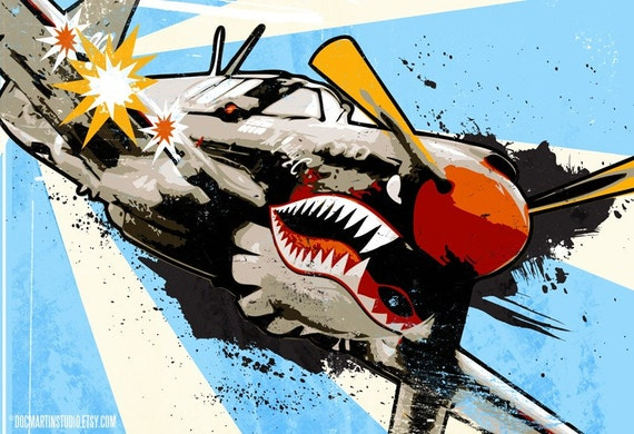 P40 WARHAWK WWII warbird fighter plane Pop Art illustration by