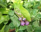 Lucite Earrings Violet Bell Flower