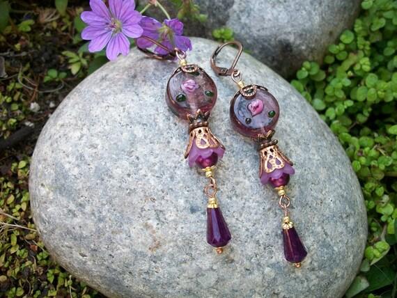 Purple Flower Fairy Earrings