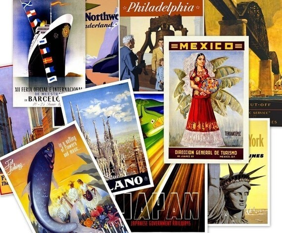 CD 165 Hi Res Vintage Tourism TRAVEL POSTERS Around The World jpeg Art Illustrations circa 1900s