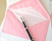 Vintage Onion Skin Stationery with Lined Pink Envelopes