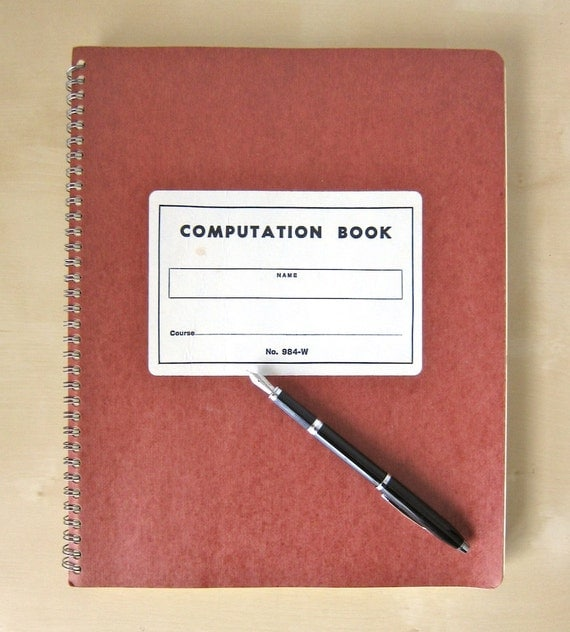 Vintage Computation Notebook with Numbered Pages