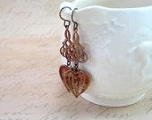 Vintage Heart Earrings Antiqued Brass One of a Kind Sweet Feminine