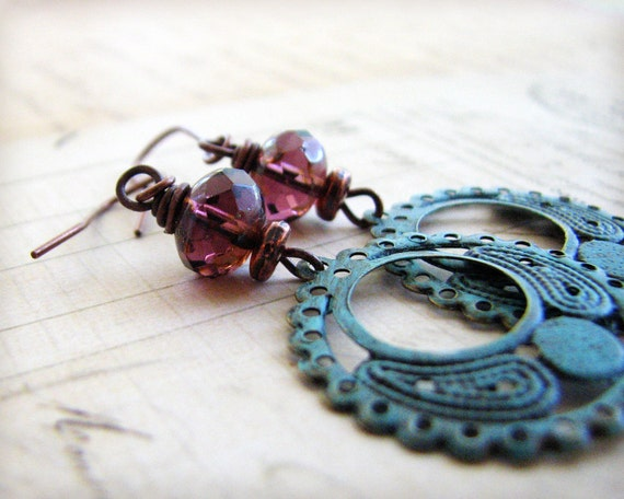Purple Turquoise Earrings Shabby Chic Copper Painted Rustic Finish Fall Fashion