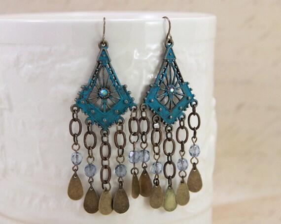 Cowgirl Chic Bohemian Blue Chandelier Earrings