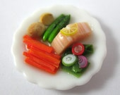 Dollhouse Miniature Food Large Salmon Dinner in 12th Scale