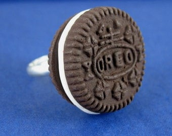 Miniature Food Jewelry Oreo Cookie Ring