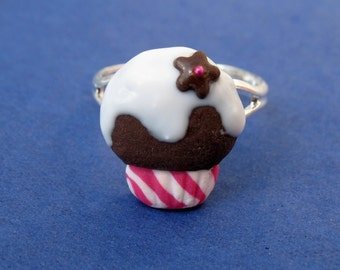Miniature Food Jewelry Chocolate Cupcake Ring in Pink and White made from Fimo