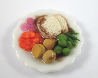 Dollhouse Miniature Food Large Turkey Dinner for One in 12th Scale