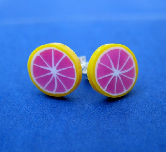 Miniature Food Jewelry Grapefruit Slice Post Earrings made from Fimo