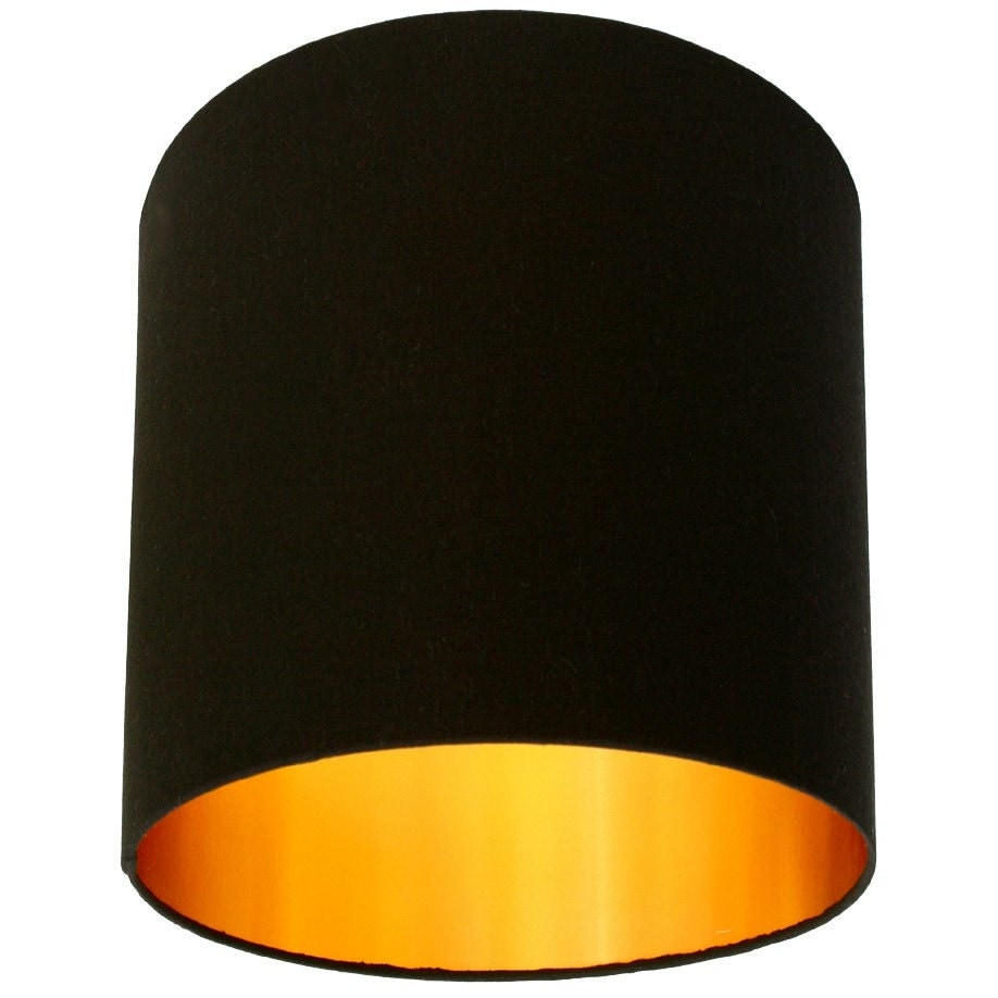 big black lamp shades jet black cotton lampshade with gold lining by. Black Bedroom Furniture Sets. Home Design Ideas