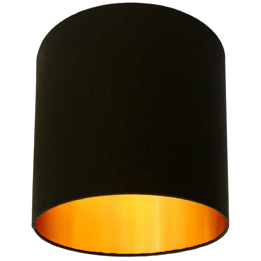 jet black cotton lampshade with gold lining by lovefrankiedotcom. Black Bedroom Furniture Sets. Home Design Ideas