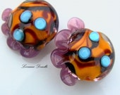 Lampwork bead set of 2   colour trials   -   SRA
