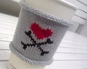 Coffee Cozy - Coffee Cup Cozy - Heart & Crossbones - anti valentine - love heart - Valentines Day