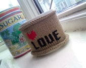Coffee Mug Cozy - LOVE Coffee Cozy - Knuckle Tattoo Inspired Love and Heart Design - Loveheart - Valentine - Valentines Day