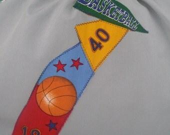 Art smock, waterproof craft apron, long sleeves, school child age 9 to 12, basketball.