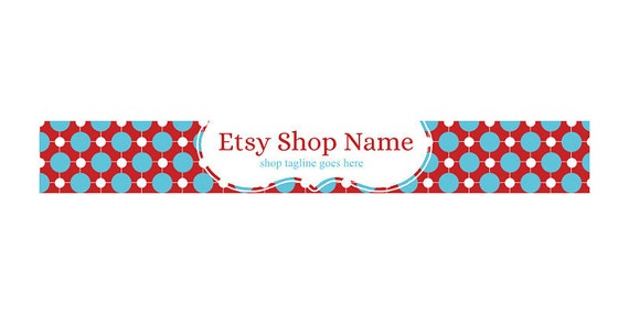 Etsy Shop Banners - Etsy Banners - Geometric Etsy Banners - Geometric Etsy Shop Banners - Red Blue Etsy Shop Banner - Abstract 67