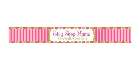 Etsy Shop Banners  - OOAK  - Fun Pink and Green - Shop Header Banner