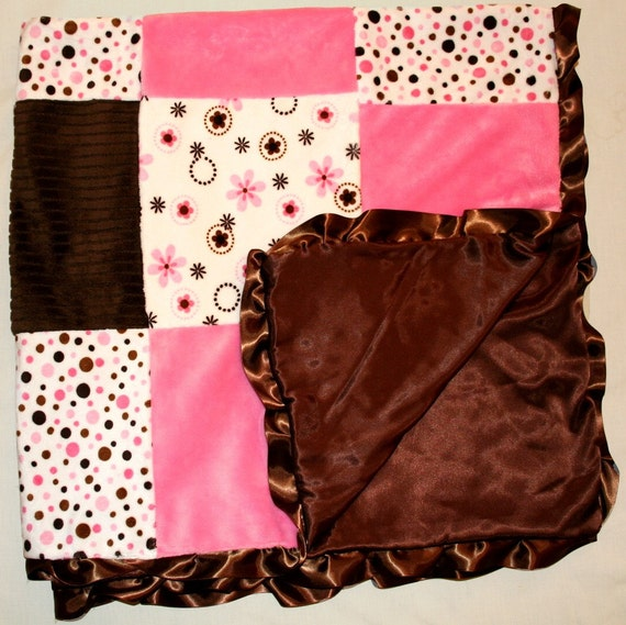 "Minky Satin 60"" Baby Girl Blanket Patchwork Quilt Polka Dot Brown Pink Bubblegum Ruffle"