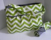 CLOSEOUT SALE - Monterey Chevron Diaper Bag Set - Medium - Lime Chevron and Grey or Custom Design Your Own
