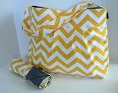 Monterey Chevron Diaper Bag Set - Large - Yellow and Grey Chevron - Adjustable Strap and Elastic Pockets