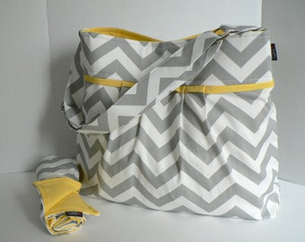 Monterey Chevron Diaper Bag Set - Large - Grey Chevron and Yellow - Adjustable Strap and Elastic Pockets - Design Your Own -