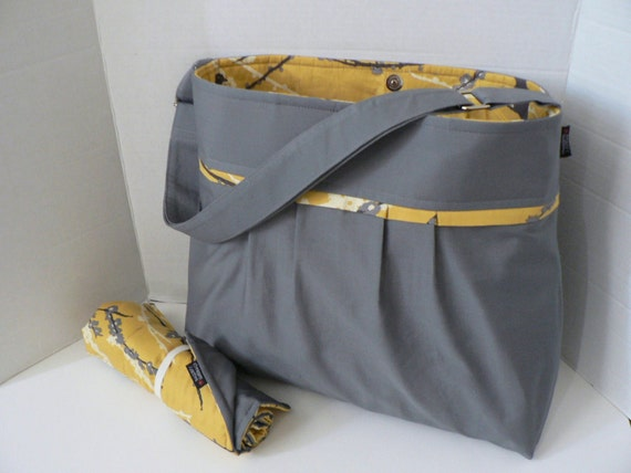 Monterey Large Diaper Bag Set  - Slate and Sparrows In Granite- With Adjustable Strap and Changing Pad
