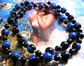 Vintage Blue Black Berry Necklace