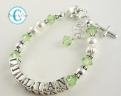 Baptism Bracelet in Green Birthstones with name for girls, or any colors, crystals and sterling silver, custom