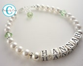 Pearl name bracelet for girls- choose swarovski colors and birthstone