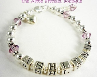 Charm bracelet with personalized name for girls. Selection of charms, crystals , size and personalization