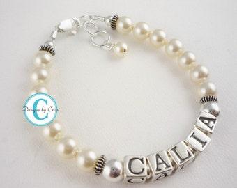 Pearl Baby Name Bracelet - cream- all sizes