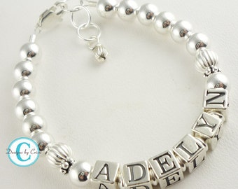 Classic & Beautiful sterling silver name bracelet for girls and baby. Christening or New Baby gift, birthday