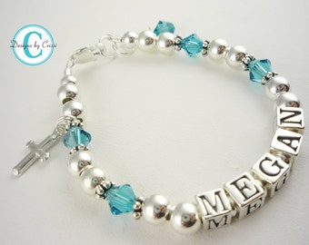 Religious cross bracelet for Girls with name and custom birthstone and sterling silver - blue zircon or any crystal