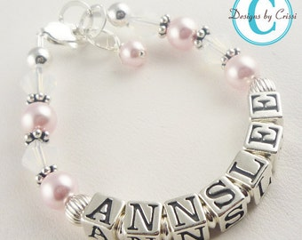 Design your own Swarovski pearl and crystal name bracelet for baby and girls