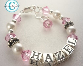 Pink crystal name bracelet for girls- any age or colors