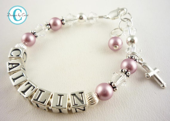 Christening Gift For Girls Pearl Name Baptism By Namebracelets