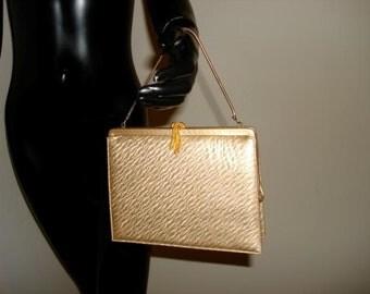 Vintage Andrew Geller bag clutch gold metal rope tassel clasp