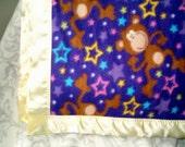 Fleece Blanket with Satin Trim - Funky Monkey