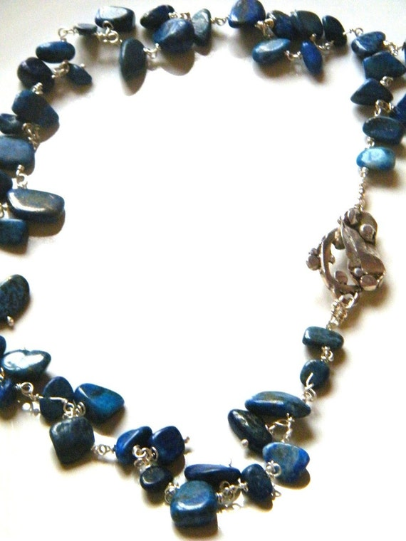 Lapis Lazuli Nuggets  Necklace with 925 Sterling  Silver Toggle Clasp