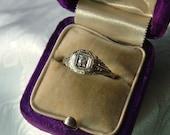 Beautiful Antique 18K White Gold and Diamond Ring Sz 5.75-Original Box-FREE SHIPPING